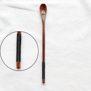 Cuillère en bois soupe à café de cuillère à café de porridge en bois massif cuillère miel café créatif japonais style vaisselle verte pour kicthen h jllwer