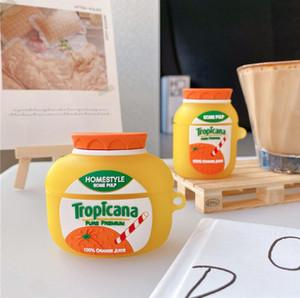Airpods에 대 한 귀여운 오렌지 주스 헤드셋 케이스 3 커버 재미 있은 이어폰 충전 상자 보호 케이스 에어 포드 프로 2 1 소프트