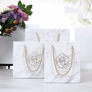 5pcs Мраморного Стиль бумага подарочные пакеты с ручками Спасибо Свадебных для гостей коробка подарка упаковывая товары для вечеринок o1vW #