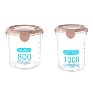 زجاجات التخزين الجرار 2 قطع المطبخ حاوية ختم وعاء القهوة الحلوى خزان البلاستيك الحبوب مربع علبة cookie back p1