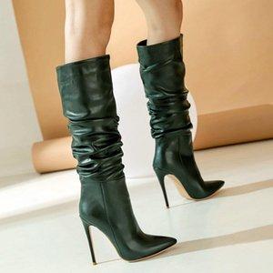 New Women Winter Boots Sexy Pliegues Super High Heel Knee High Boots Cómodo Tacón de aguja puntiagudo Otoño Tacón de altura
