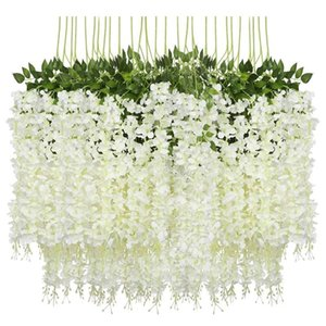 24 Pieces Artificial Flowers Fake Wisteria Garland Hanging Wisteria Silk Flowers for Weddings Home Garden Party