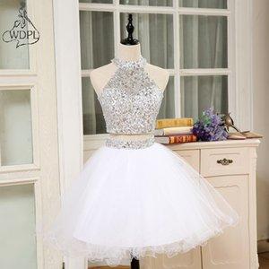 Shining 2 Piece Prom Dresses 2018 High Neck Crystal Beaded Puffy Short Homecoming Dress For Graduation Vestido De Festa