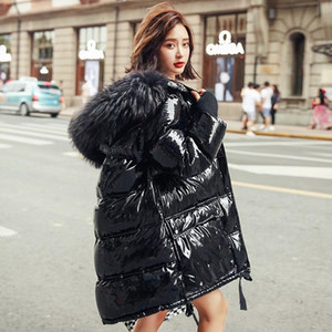 2019 new hot style white duck down big fur collar patent leather bright face jacket women's mid-length clearance trend