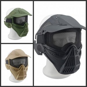Outdoors Field Face Paintball Protective Masks Airsoft War Game Goggles Professional Wind 3 Color CS Full Equipment Sport Tactical Mask Ljex