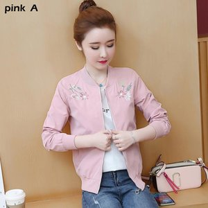 Women Basic Jackets Female Zipper Pockets Embroidery Flowers Long Sleeves Coats Autumn Windbreaker Jacket