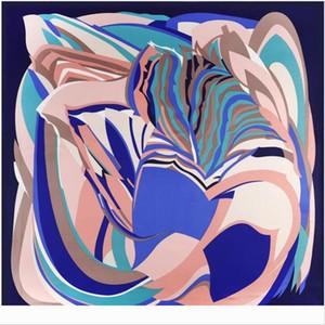 Designer Oil Painting Square New Brand Women Winter Twill Print Turban Headband Large Hijab Infinity Silk Sca