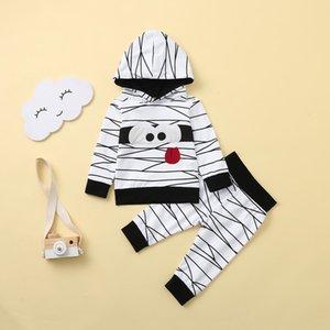 6m-4y niño niños muchachas de los bebés Pantalones Halloween de dibujos animados con capucha suéter Trajes Set de juego de los niños Deportes Roupas Infantis
