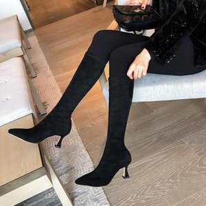 Salu Autumn Winter Hot Sale The Knee Boots High Heel Solid Simple Fashion Wedding Dress Shoes Round Toe Women Boots