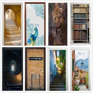 2PCS SET Vinyl Art Door Stickers Mural Landscape Scenes Adhesive Waterproof Posters Decals DIY Sticker Wall Bathroom Room Decor