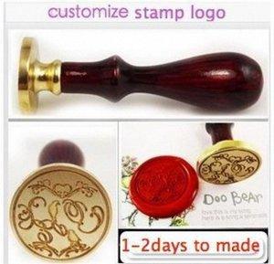 Wholesale-double letter design wedding Invitation Retro antique sealing wax stamp customize logo Personalized image handle x3Cz#