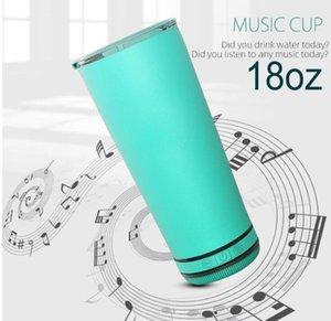 Nouveaux 18oz Bluetooth Music Cup Bluetooth Coupe plus forfeuille Tobe d'eau sans fil Isolé Tasse à café imperméable Cadeau Présent Fy4364