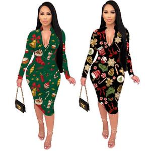 Женская одежда Chirstmas платья повседневные платья S-2XL черный зеленый стенд воротник с длинным рукавом зимняя одежда на молнии фронт 4151