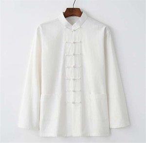 Tang suit Chinese style retro men's cotton and linen long-sleeved shirt