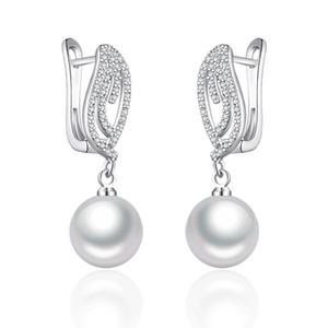 Luxus 10MM Perlen-Tropfen-Ohrringe Zirkonia Danging Ohrringe mit Perlen Frauen kreativen Schmuck Mädchen exquisite Geschenke