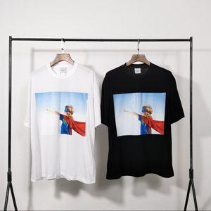 L'alta qualità di abbigliamento fashion designer acmedelavie ciambella nera Superman stampa manica corta in cotone amanti giovani t-shirt per gli uomini e le donne