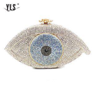 Les femmes SOIRÉE Big Diamonds Eye Luxury Fashion Clutch Argent Bling Crystal Sac de mariée Sac à main noir Bolso Mujer Q1113