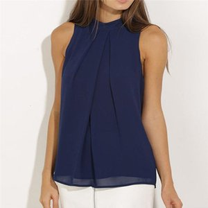 Women Casual Sleeveless Solid Color Chiffon Blouse shirt Tops women Summer Loose tops Drop Shipping Good Quality
