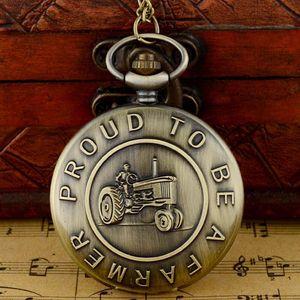 Vintage Bronze Proud To Be A Faemer Кварцевые карманные часы с цепочкой ретро Мужчины Женщины ожерелье часы подарок