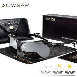 AOWEAR Alüminyum Rimless Fotokromik Güneş gözlüğü Erkekler Polarize Gündüz Gece Sürüş Gözlük Bukalemun discolor Mercek Gözlük Gafas