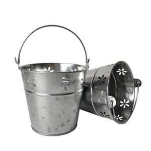 D11XH10CM Demir Varil Yuvarlak Galvanizli Çiçek Kova Küçük Bonsai Pot Metal Kovalar Metal Et Dikilen Parti Favor Tutucu