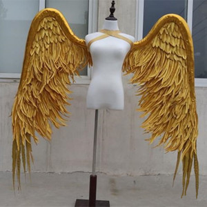 Refining High Quality Natural Feather handicaft Gold Angel wings Photography props for Photo Background DIY Decoration
