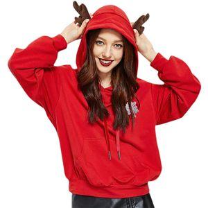 Dugujunyi Weihnachten Mode lange Hülsen-Druck-Brief Sportbekleidung Solid Pullover und Sweatshirts Frauen Y200917
