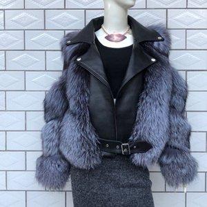 Fashion Real Fox Fur Coats With Genuine Sheepskin Wholeskin Natural Jacket Vest Outwear Luxury Women Winter New 201112