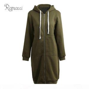 Romacci Plus Size Hooded Coat Female Fashion Women Hoodies Long Sweatshirts Winter Casual Pockets Zipper Solid Outerwear Jacket