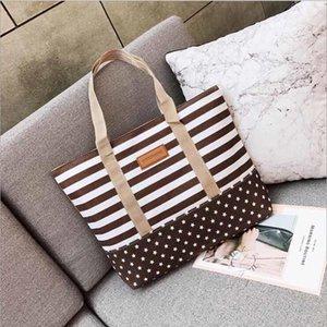 Free Shopping Handbag High Quality Women Girls Canvas Large Striped Summer Shoulder Tote Beach Bag Colored Stripes
