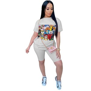 Lounge Wear Biker Shorts Set 2 Piece Sets Womens Outfits Cartoon T- Shirt Sweat Suits Summer Clothes Ensemble Femme Y200822
