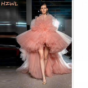 Coral Tiered High Low Prom Dresses Puffy Ruffles Strapless 2021 Summer Runway Fashion Evening Gowns Girls Pageant Formal Wear