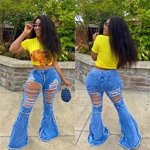 Femmes Jeans Ripped Streetwear Tassel trou Flare Pantalons simple taille haute Pantacourt Jeans Pantalons Denim Femme Automne Pantalons