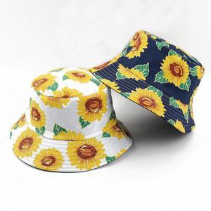 여름 모자 버킷 어부 캡 남성 여성 해바라기 인쇄 접이식 어부의 모자 버킷 모자 남여 모자 여성을 두를 양면