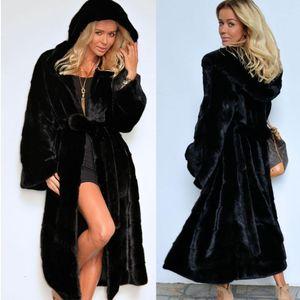 Осенью и зимняя женская одежда новая имитация шуба с капюшоном мягкая длинная плюшевая пальто Женская ветровка S-2XL1