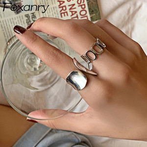 Minimalist 925 Silver Plated Width Rings for Women Fashion Vintage Creative Hollow Geometric Handmade Open Finger Ring Party Jewelry Gift