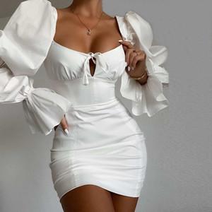 Puff Kollu Yeni Casual Kadınlar Katı Renk Kısaca BODYCON Elbiseler Yüksek Kalite Bayan Elbise ile Moda Kadınlar Seksi Elbise
