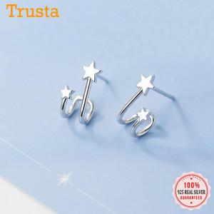 Stud Trustdavis Genuine 925 Sterling Silver Fashion Sweet Double Stars Charm Earrings For Women Wedding Fine Jewelry Gift DS105