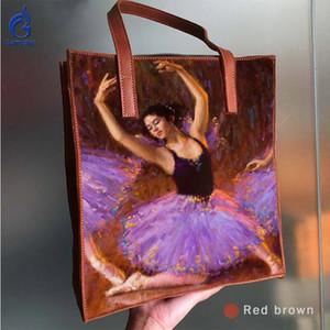 Hand painted ART Pretty elegant ballet dancer 2020 luxury handbags women bags designer Big capacity Women Genuine Leather Bags