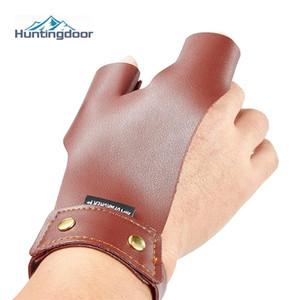 Коричневый коровьей Finger Protect перчатки Guard Традиционная кожа левый большой палец правой руки указательные пальцы Для Bow Arrow