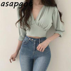 Asapgot Chic Kore Mizaç Yeşil V Yaka Şifon Kadınlar Bluzlar Kısa Moda İnce Geri Lace Up Gömlek Plus Size Yabani blusas