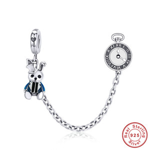 fit Europe Bracelet Original 925 Sterling Silver Magic Hat Rabbit Clock Safety Chain Beads for Jewelry Making Cute Animal Charm Y200918