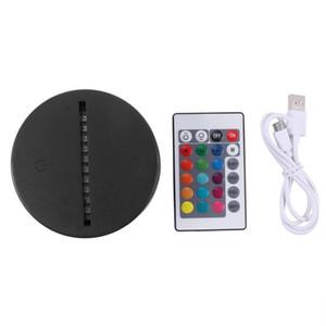 Base de lámpara LED de luces RGB para la lámpara de ilusión 3D 4mm Acrylic Light Panel AA batería o DC 5V USB 3D luz de noche