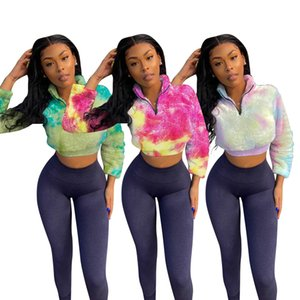 Tie Dye Womens Designer Outsuits Slim Long Sleeve Sexy Stand Neck Zipper Women Clothing 2 Pieces