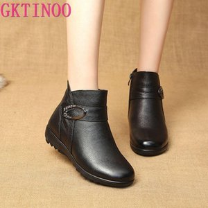 GKTINOO Winter Genuine Leather Flat Ankle Boots For Women Warm Plush Boots Side Zipper Soft Comfortable Cow Leather Botas