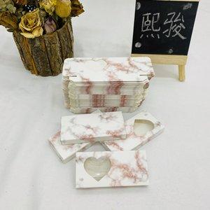 H Wholesale faux eyelash emballage boîte 3D Mink cils Faux Cils Stripe Vide Papier Boîtes de cils de marbre Boîtier de marbre Amour en forme de cœur Brillant avec plateau en plastique KYLI