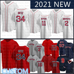 2020 새로운 사용자 정의 50 MOKIE BETTS 야구 저지 테드 윌리엄스 앤드류 Benintendi David Ortiz JD Martinez Wade Boggs Chris Sale Dustin Pedroia