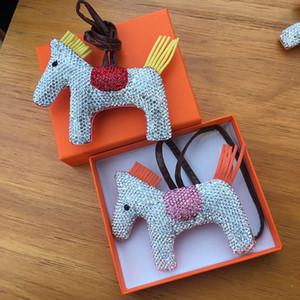DHL Diamond Horse Keychain Animal Key Chain Women Bag Charm Pendant Accessories Fashion Jewelry new 8 colors