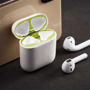 Metal Dust Guard Sticker Film On For AirPods 1 Case Dust-proof Protective Sticker Skin Protector For Apple AirPods 1 Accessories