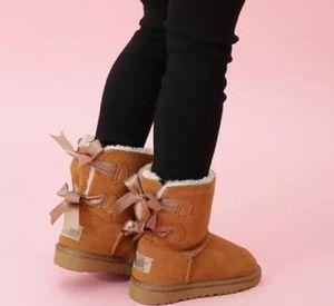 SICAK Çocuk Boots Kar Kış Boots Bailey Bow Çocuk Kız Erkek Üçlü Siyah Pembe Haki Bilek Patik ayakkabı